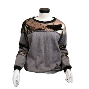 Tyli Crew Neck Sweater with Sequins Grey/Black L